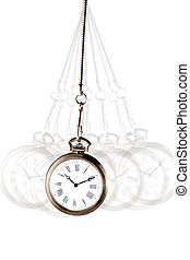 silver pocket watch with chain swinging on a white background