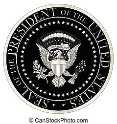 A depiction of the seal of the president of the United States of America in black and silver