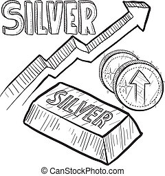 Doodle style Silver precious metal value symbol with up arrow indicating increasing price or inflation. Vector file includes arrow, title, coin symbol with up arrow, and ingot with title.