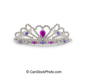 Silver princess crown isolated on white background