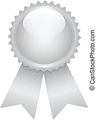 Silver prize ribbon on white