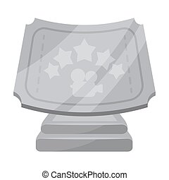 Silver prize with star, and camera on a stand.Movie awards single icon in cartoon style vector symbol stock illustration.