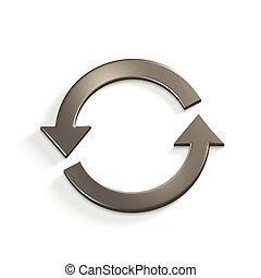 Silver Recycling Circular Arrows. Gold. 3D Render Illustration
