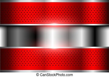 Silver red metallic background 3D.