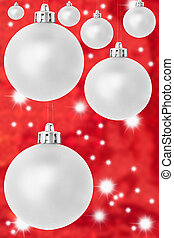 silver red star christmas balls