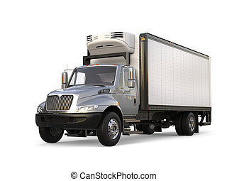 Silver refrigerator trailer truck