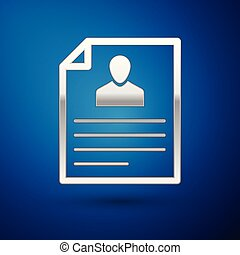 Silver Resume icon isolated on blue background. CV application. Searching professional staff. Analyzing personnel resume. Vector Illustration