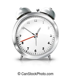 Silver retro alarm clock isolated on white background. Vector