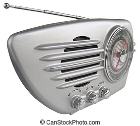 Silver retro radio - Groovy steamlined set