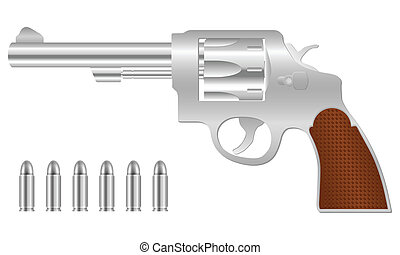 silver revolver and bullets