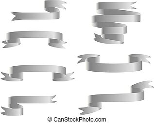 Silver ribbon banners set. Isolated on white background
