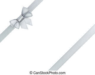 silver ribbon bow composition, isolated on white