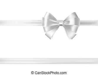 silver ribbon bow on white. decorative design elements