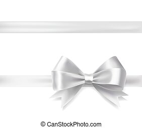 silver ribbon bow. vector decorative design elements