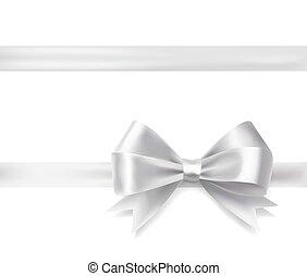 silver ribbon bow. vector decorative design elements