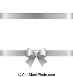 Silver ribbon with a bow. Vector illustration on white background.
