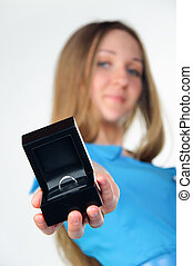 silver ring in a black box