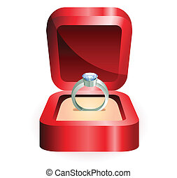 silver ring in a red box
