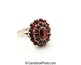 Silver ring with garnet isolated on a white background