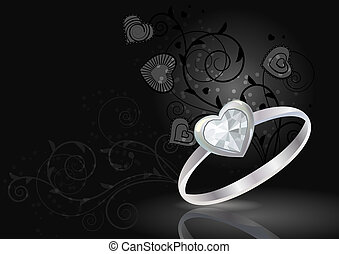 Silver ring with gem on luxury black background
