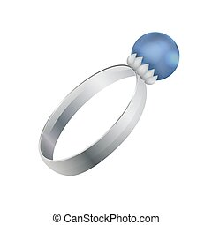 Silver Ring with Round Precious Diamond Vector