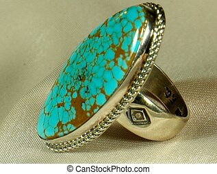 Silver Ring w/Turquoise Stone - Native American sterling...