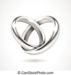 Silver Rings Isolated on White Background