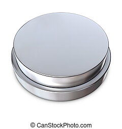 Silver Round Button with Metallic Ring