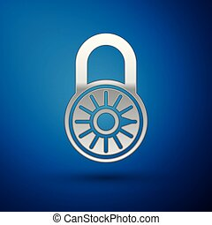 Silver Safe combination lock wheel icon isolated on blue background. Combination padlock. Security, safety, protection, password, privacy concept. Vector Illustration