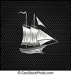 silver sailing ship on metal background