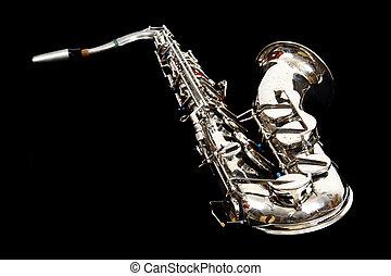 silver saxophone