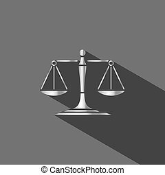 Silver scales of justice icon with shadow on dark background