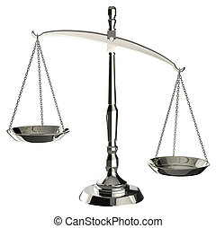 Silver scales of justice isolated on white background with clipp