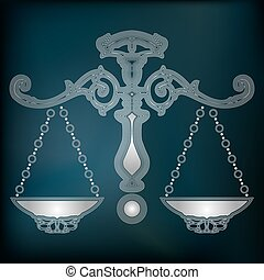 Silver scales, zodiac Libra sign