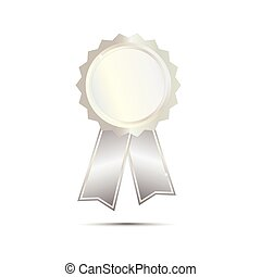 Silver Seal Award Ribbon on white