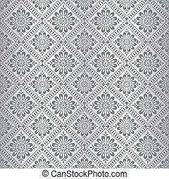 Silver seamless floral wallpaper