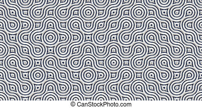 Silver Seamless Truchet Tilling Background. Geometric Mosaic Connections Texture. Tile Circles Labyrinth Backdrop.