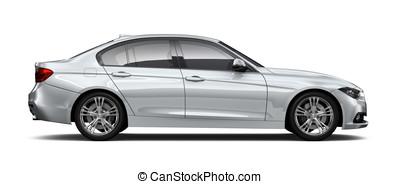Silver sedan car - side angle - Silver sedan car isolated on...