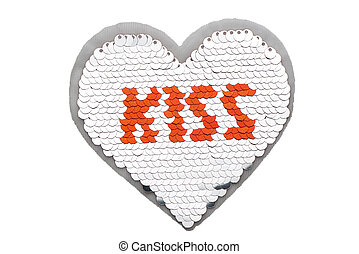 Silver sequin heart with red KISS lettering isolated on white background
