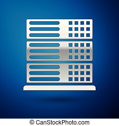 Silver Server, Data, Web Hosting icon isolated on blue background. Vector Illustration