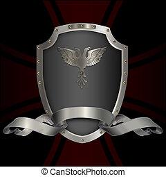 Silver shield and ribbon.