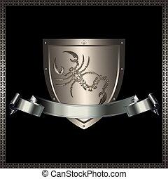 Silver shield and silver ribbon.