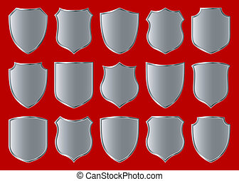 silver shield design set with various shapes