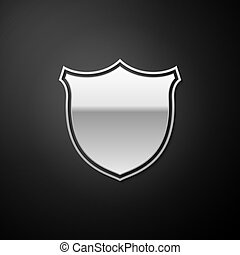 Silver Shield security icon isolated on black background. Protection, safety, security concept. Firewall access privacy sign. Long shadow style. Vector