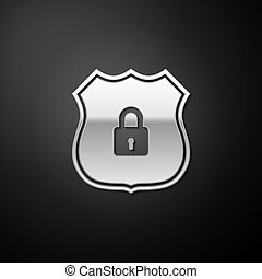 Silver Shield security with lock icon isolated on black background. Protection, safety, password security. Firewall access privacy sign. Long shadow style. Vector