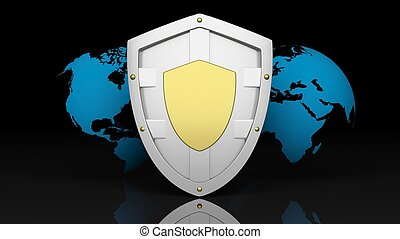 Silver shield symbol on world map background