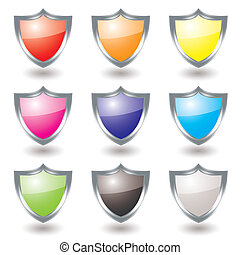 silver shield variation - Collection of nine silver shields...