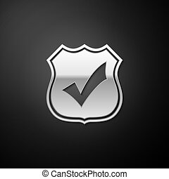 Silver Shield with check mark icon isolated on black background. Protection, safety, security, protect, defense concept. Tick mark approved icon. Long shadow style. Vector