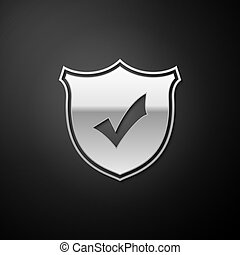 Silver Shield with check mark icon isolated on black background. Protection symbol. Security check Icon. Tick mark approved icon. Long shadow style. Vector