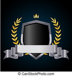 Silver shield with laurel wreath, crown and ribbon. Vector illustration.